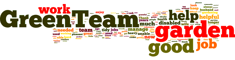 Words which describe the work that the green team does